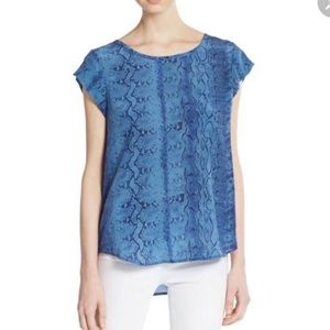 Joie blue rancher silk snake skin top size S